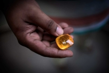 Local gemtrader in Sri Lanka with at 120 carat yellow sapphire